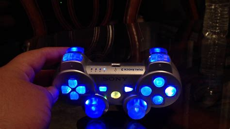 Silver Modded Ps3 Controller With Led Lights Youtube