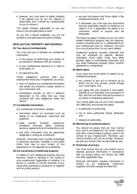 casual employment contract template casual employment agreement template sle