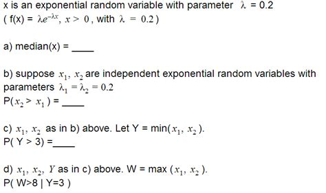 How To Find Random On Statistics Given X Is An Exponential Random Variable Find Median Probability