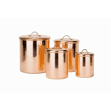 copper kitchen canister sets old dutch 4 piece canister set in polished copper with