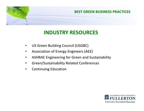 Http Stmary Edu Mba Resources 8 Best Practices In Business Management by Csuf Webinar Best Green Business Practices Presentation
