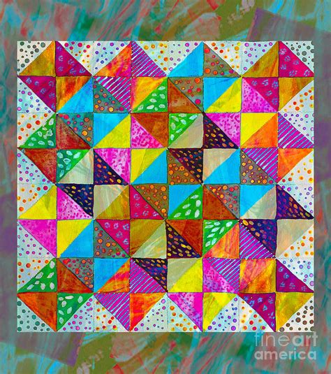 pattern art on canvas broken dishes quilt pattern painting 2 painting by