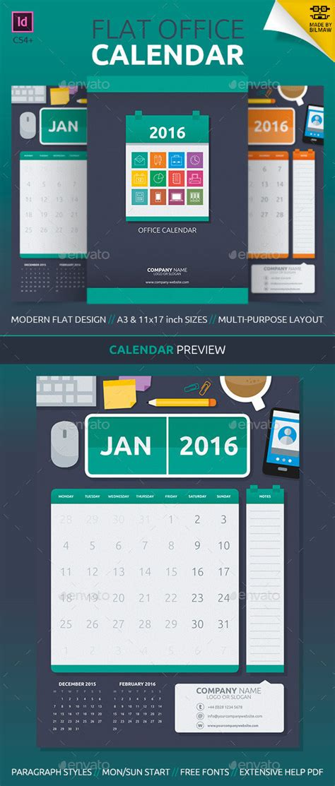 Kickstart 2016 With A Creative Monthly Calendar Template 11x17 Calendar Template Indesign