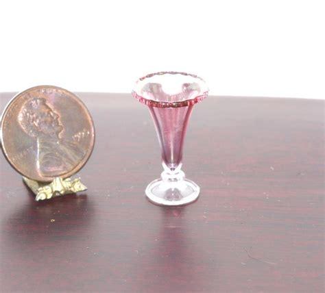 dollhouse miniature cranberry glass flower vase by phil