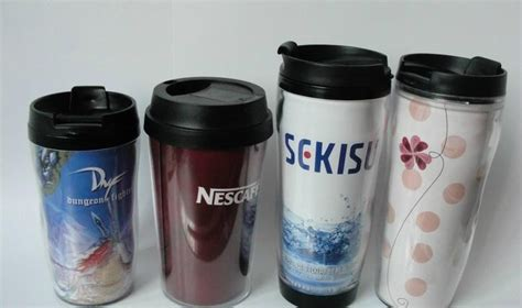 16oz double wall plastic travel mug, with insert paper