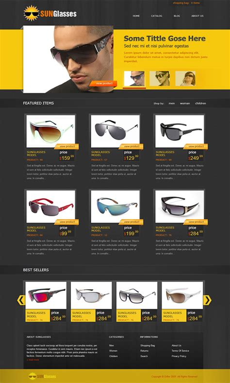 Free Ecommerce Css Template For Sunglasses Online Shop Web Design Ecommerce Website Templates Free Html With Css