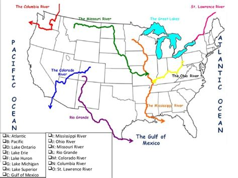 american bodies of water map rivers