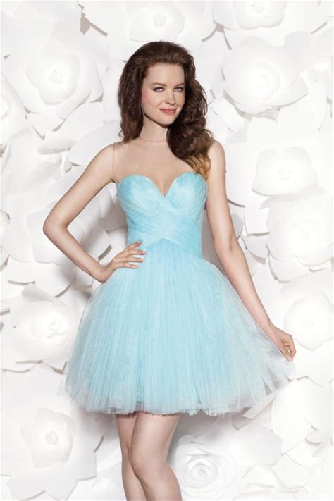 Mini Formal Casual Clean Dress White Beige Sky Blue Import Murah beautiful illusion neckline mini light blue tulle cocktail