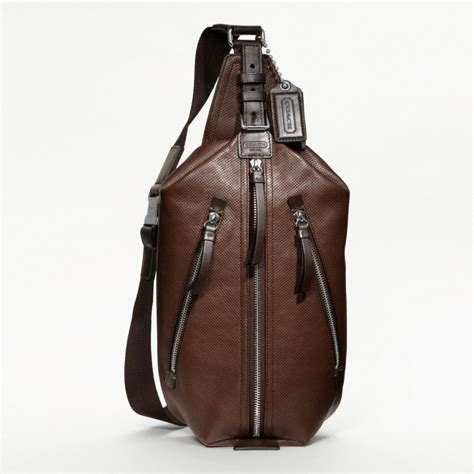 Coach Cus Sling Backpack 1 lyst coach thompson leather perforated sling pack in brown for