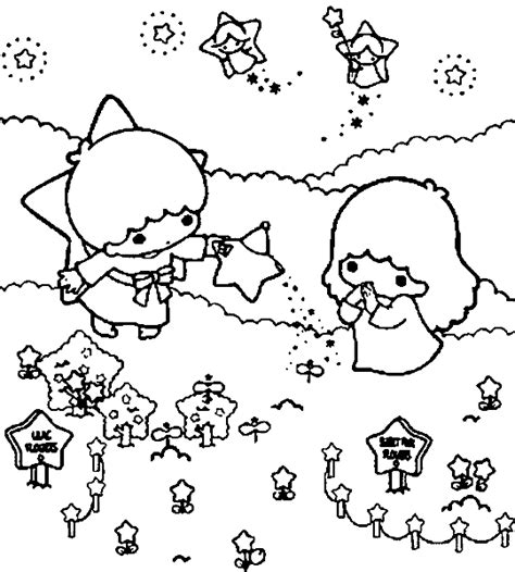 little twin stars pages coloring pages