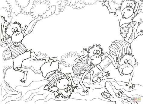 five little monkeys coloring page five little monkeys sitting in a tree coloring page free