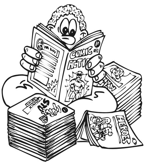 Free Coloring Pages Of Children Reading Book Comic Book Coloring Pages