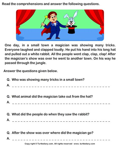 printable english comprehension worksheets for grade 1 reading comprehension magician worksheet turtle diary