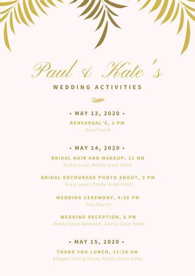Light Pink with Golden Leaves Wedding Itinerary Planner
