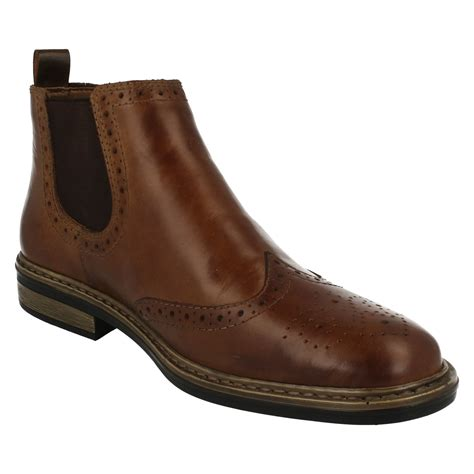 mens rieker wide fitting brogue pull on boots 37681 ebay