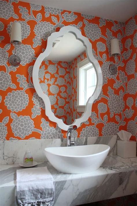 orange and grey bathroom orange and gray bathroom wallpaper transitional bathroom