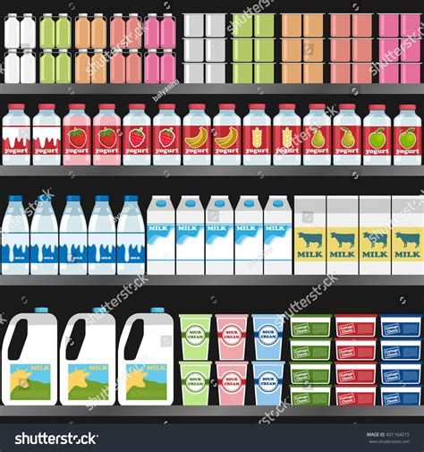 Product On Shelf by Shelf Dairy Products On Shelf Supermarket Stock Vector