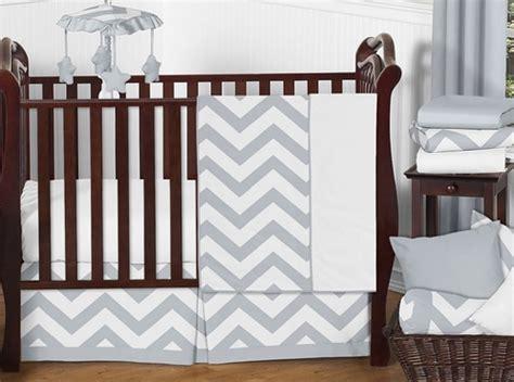 gray and white chevron zigzag baby bedding 11pc crib set
