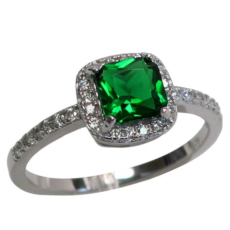 impressive princess cut 1 ct emerald 925 sterling silver