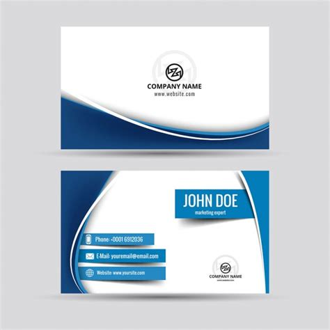 business card template wavy design blue wavy business card vector free