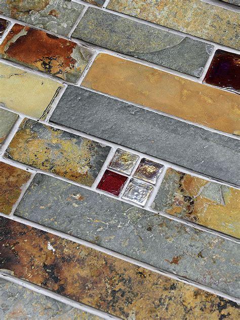 Subway Slate Glass Mosaic Kitchen Backsplash Tile
