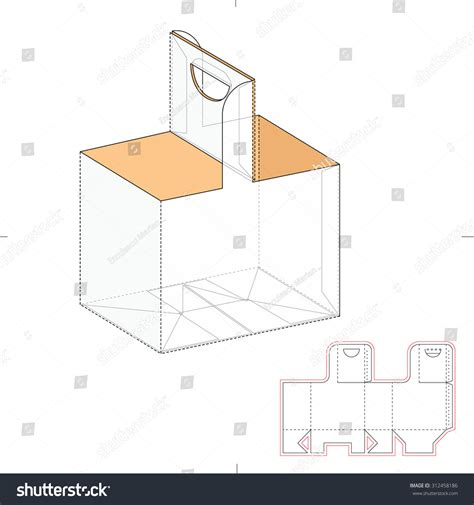box carrier with die line template stock vector