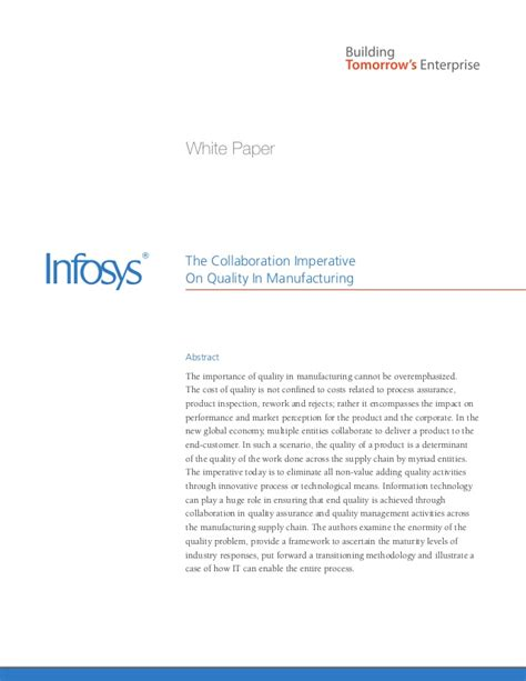 Infosys Experience Letter Gc Infosys Quality Management Software Manufacturing White Paper
