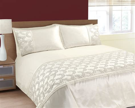 cream bedding set single size luxurious sparkling sequins and embroidered