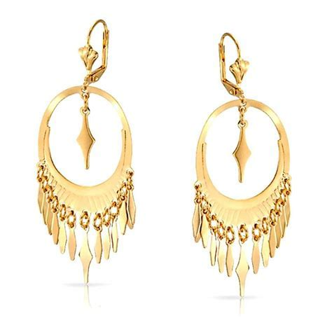 Oval Geometric Leaf Yellow Gold Filled Dangle Leverback
