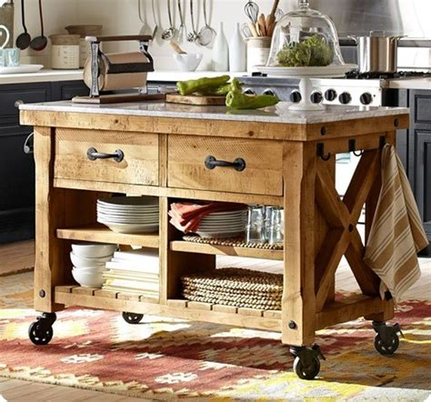 Wheeled Kitchen Islands by Rustic Wood Kitchen Island With Casters