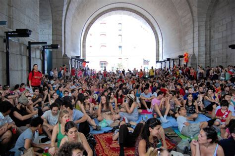 World Cup games screening in Dumbo under archway