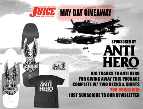 Free Skateboard Deck Giveaway - anti hero skateboards giveaway juice magazine