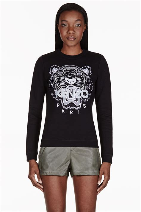 Sweater Kenzo Tiger Lyst Kenzo Black Embroidered Tiger Sweater In Black