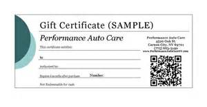automotive gift certificate template performance auto care carson city nevada