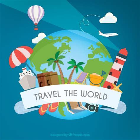 Around The World For Free viajar el mundo descargar vectores premium