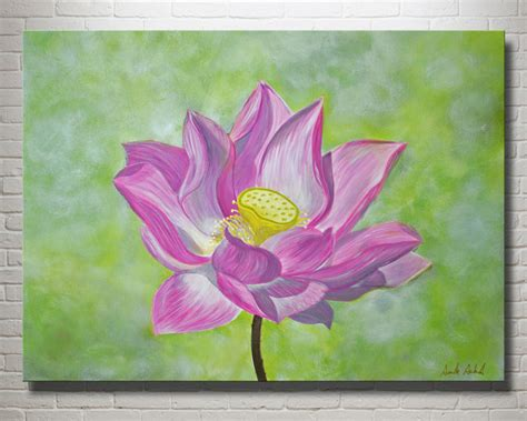 lotus flower painting designs large canvas painting pink lotus flower 24 quot x 30