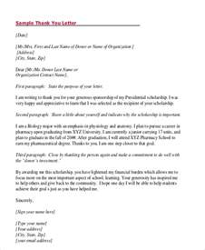 Scholarship Award Letter To Sle Thank You Letter For Scholarship Award 5 Exles In Word Pdf