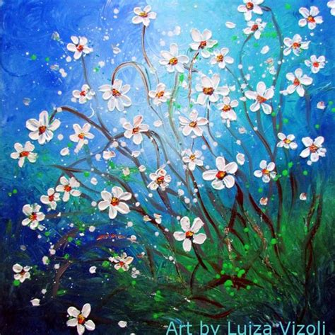 painting impressionism modern large original floral paintings daisies and flowers on