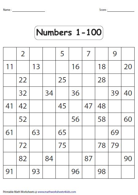 Writing Numbers 1 100 Worksheet by Number Charts