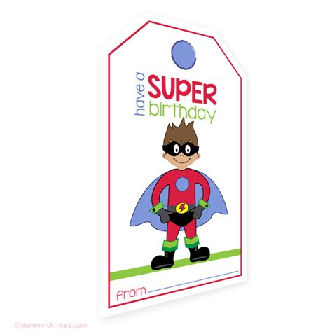 Printable Birthday Gift Tags Cards - hanging gift tags superhero birthday gift tags and card lauren mckinsey printables