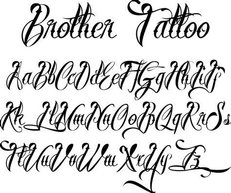 pictures tattoo letters styles tattoo fonts brother tattoofont by m 229 ns greb 228 ck tattoo
