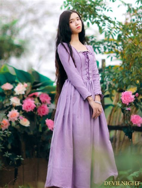 elegant purple lace  long sleeves medieval inspired