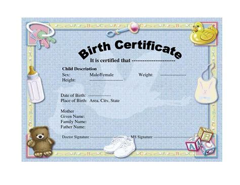 birth certificate templates free birth certificate template playbestonlinegames
