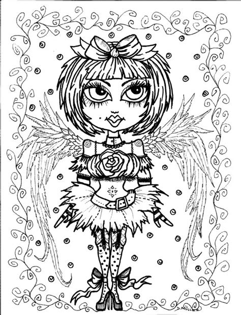 coloring book for goths 5 pages instant 5 coloring pages