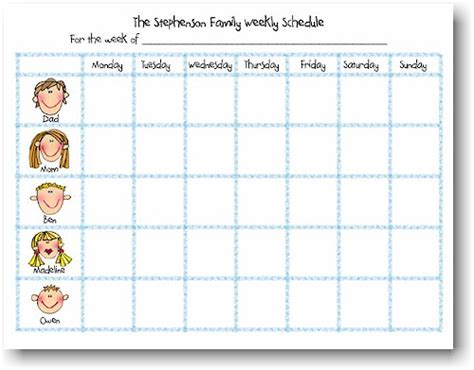 weekly family calendar template starfish pads family weekly schedule notepads
