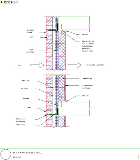 section screen brick rain screen wall aia cad details zipped into