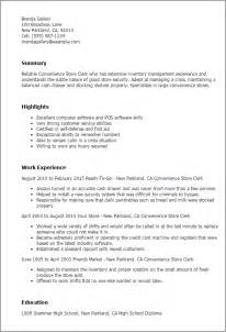Convenience Store Clerk Sle Resume professional convenience store clerk templates to showcase