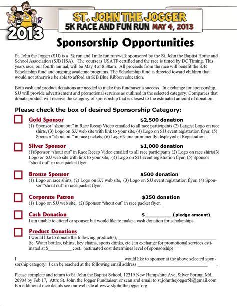 sponsorship letter for charity run 5k sponsorship form