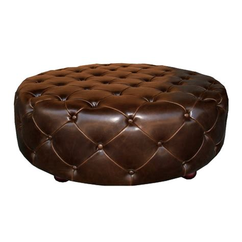 round tufted leather ottoman soho tufted round ottoman brown leather zin home