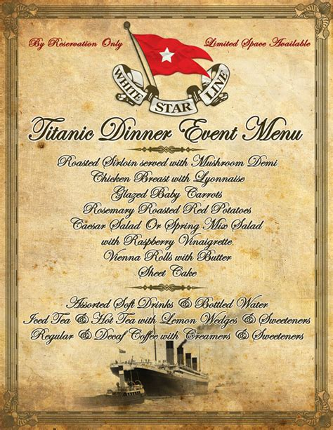 titanic menus titanic dinner event disney secrets